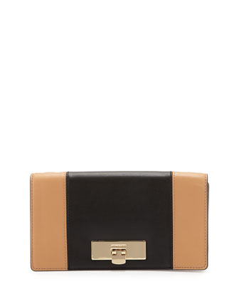 Callie Two-Tone Clutch Bag, Suntan/Black