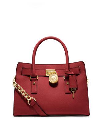 Hamilton Saffiano Satchel Bag, Red