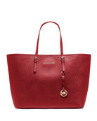 Jet Set Saffiano Travel Tote Bag, Red