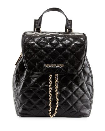 Susannah Medium Quilted Backpack, Black
