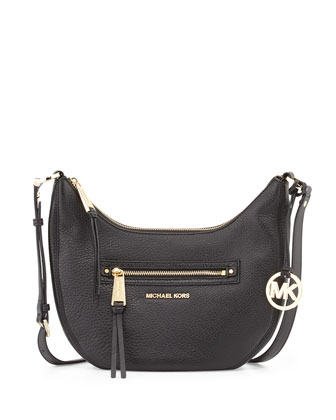 Rhea Small Zip Messenger Bag, Black