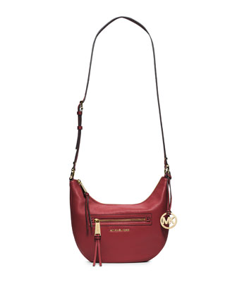 Rhea Small Zip Messenger Bag, Red
