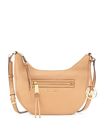Rhea Small Zip Messenger Bag, Suntan