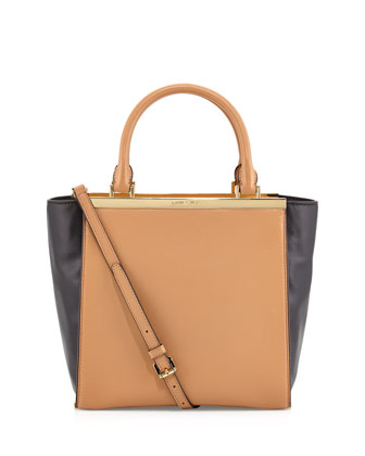 Lana Medium Colorblock Tote Bag, Suntan/Black