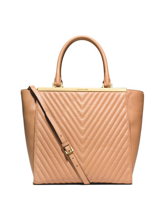 Lana Quilted Medium Tote Bag, Suntan