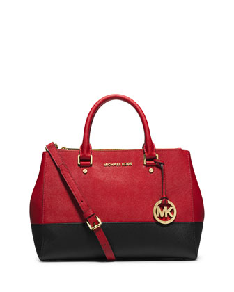Sutton Medium Satchel Bag, Dark Red/Black