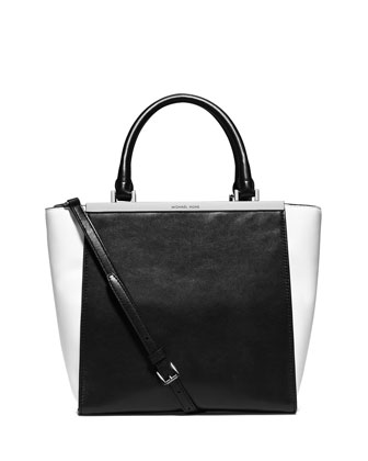 Lana Medium Colorblock Tote Bag, Black/Optic White