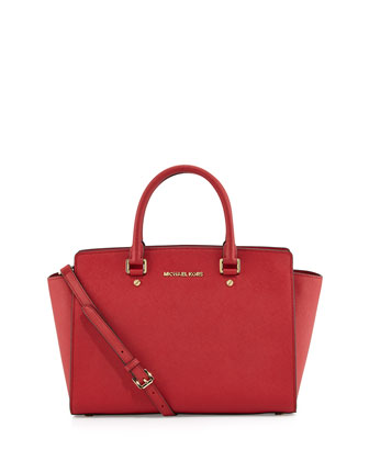 Selma Top-Zip Satchel Bag, Red