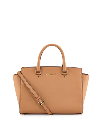 Large Selma Top-Zip Satchel, Suntan