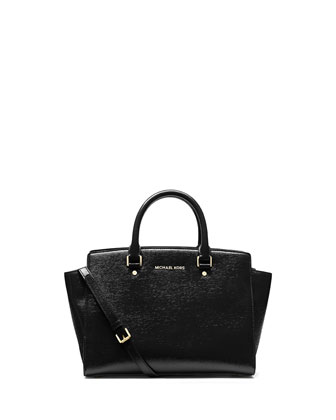 Large Selma Top-Zip Satchel Bag, Black