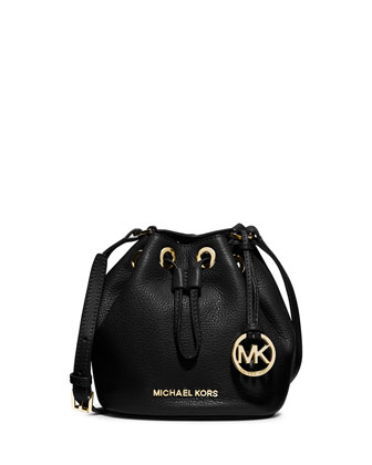 Jules Drawstring Crossbody Bag, Black