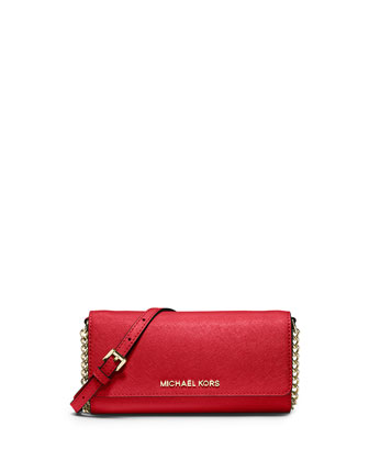 Jet Set Saffiano Travel Wallet-on-Chain, Red