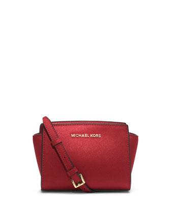 Selma Mini Saffiano Messenger Bag, Red