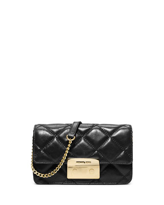 Sloan Quilted Chain Crossbody Bag, Black