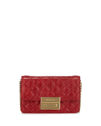 Sloan Quilted Crossbody Bag, Dark Red