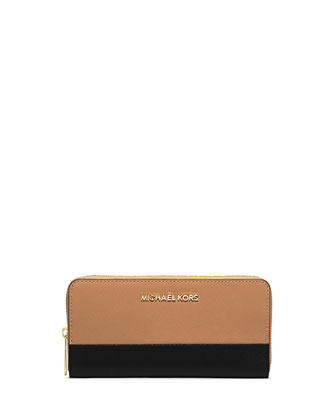 Jet Set Travel Saffiano Continental Wallet, Suntan/Black