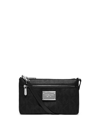 Jet Set Large Monogram Wristlet, Black