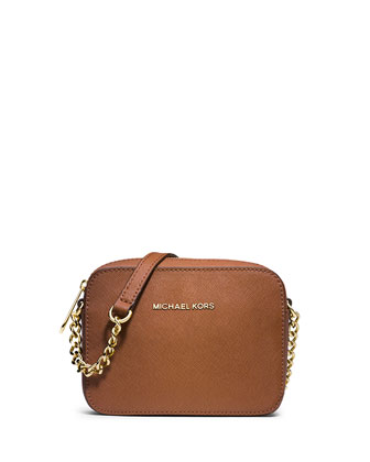 Jet Set Travel Saffiano Crossbody Bag, Luggage