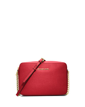 Jet Set Travel Large Saffiano Crossbody Bag, Red