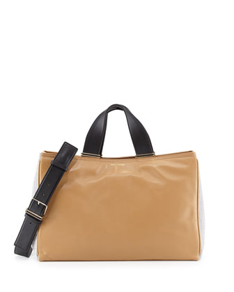 Inez Colorblock Leather Carryall Tote Bag, Tan