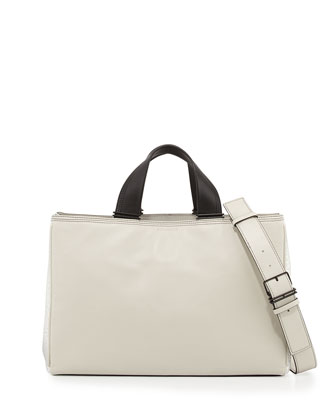 Inez Leather Carryall Tote Bag, Eggshell