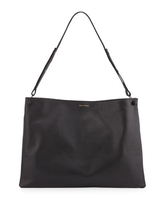 Bijou Leather Shoulder Bag, Black