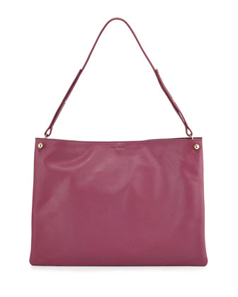 Bijou Leather Shoulder Bag, Raspberry