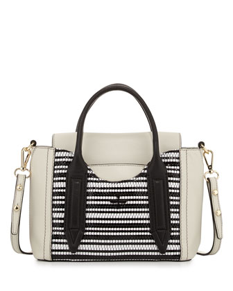 Provence Woven Mini Satchel Bag, Black/White
