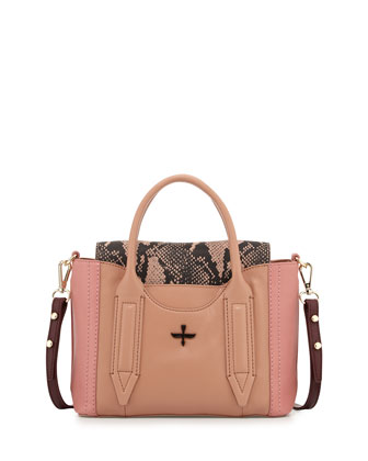 Provence Mini Colorblock Satchel Bag, Dusty Pink