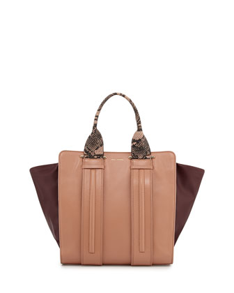 Two-Tone Print-Trim Tote Bag, Dusty Pink