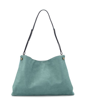 Bijou Leather Shoulder Bag, Powder Aqua