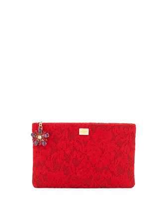 Lace Clutch with Crystal Flower Charm, Red