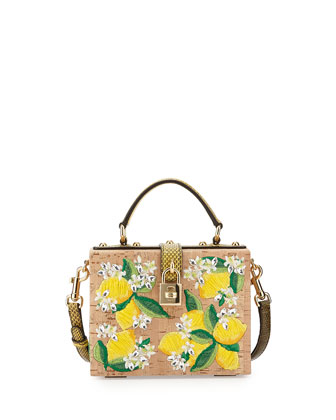 Dolce Floral-Print Cork Satchel Bag, Natural/Red