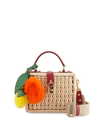 Dolce Raffia Box Bag w/ Fur Fruit Charms