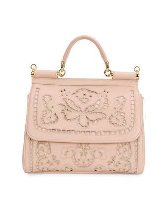 Miss Sicily Lambskin Lace Satchel Bag, Nude
