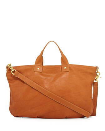 Pebbled Leather Messenger Bag, British Tan