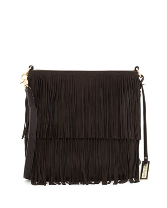 Burning Up Fringe Crossbody Bag, Chocolate