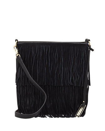 Burning Up Fringe Crossbody Bag, Black