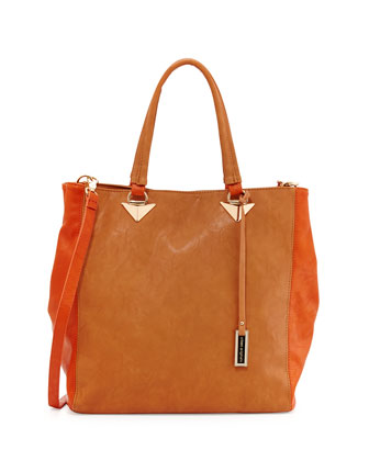 Two-Tone Faux Leather Tote Bag, Tan/Orange
