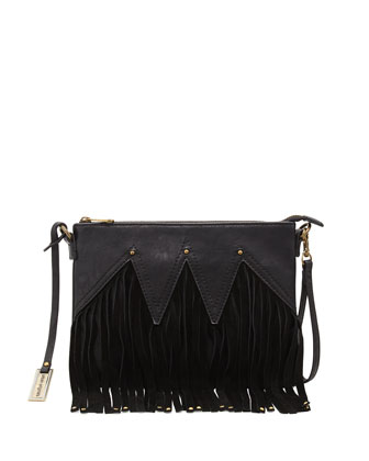 Faux Leather Fringe Wristlet Clutch Bag, Black