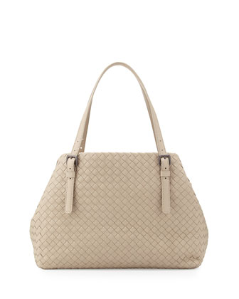 A-Shape Woven Tote Bag, Beige