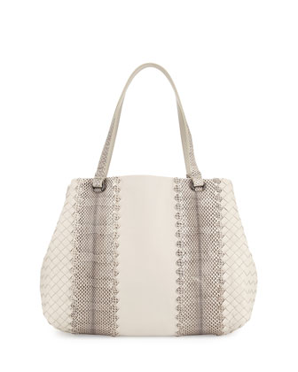 Lambskin/Snakeskin Medium Tote Bag, White