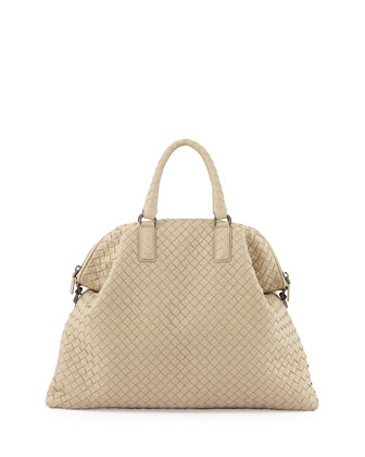Medium Convertible Woven Tote Bag, Beige