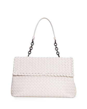Olimpia Medium Shoulder Bag, White