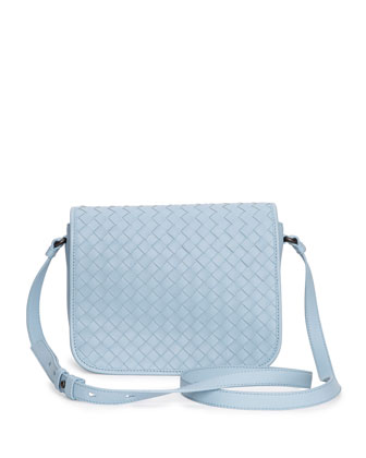 Small Woven Flap Crossbody Bag, Light Blue
