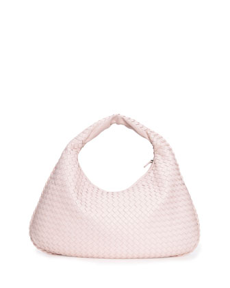 Veneta Intrecciato Large Hobo Bag, Pale Pink