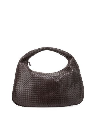 Veneta Intrecciato Maxi Hobo Bag, Dark Brown