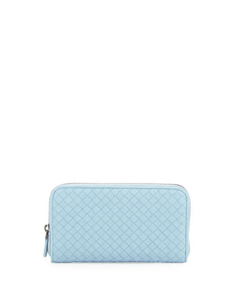 Continental Zip-Around Wallet, Light Blue
