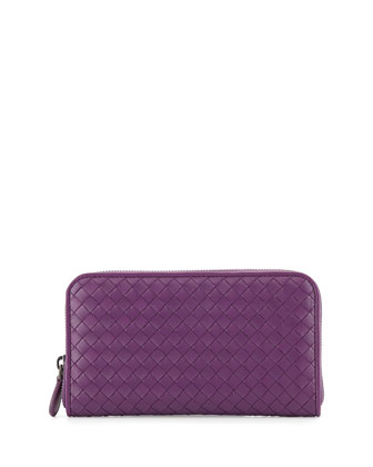 Woven Lambskin Continental Zip Wallet, Purple