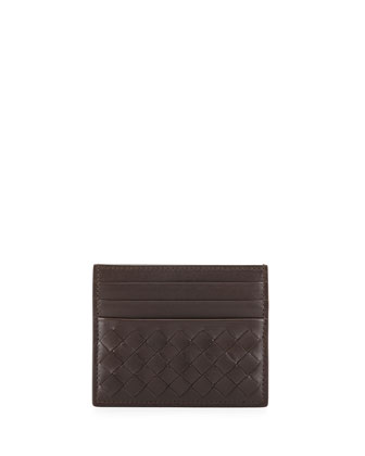 Woven Leather Credit Card Sleeve, Dark Brown